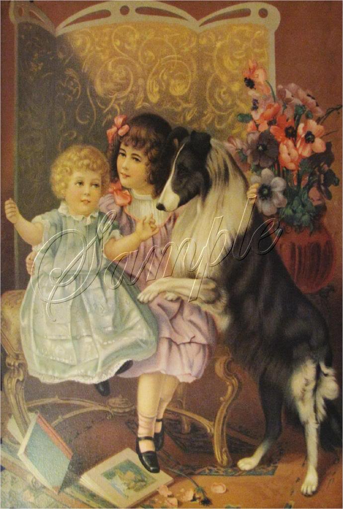 VICTORIAN CHILDREN SISTERS COLLIE DOG BOOKS CANVAS ART