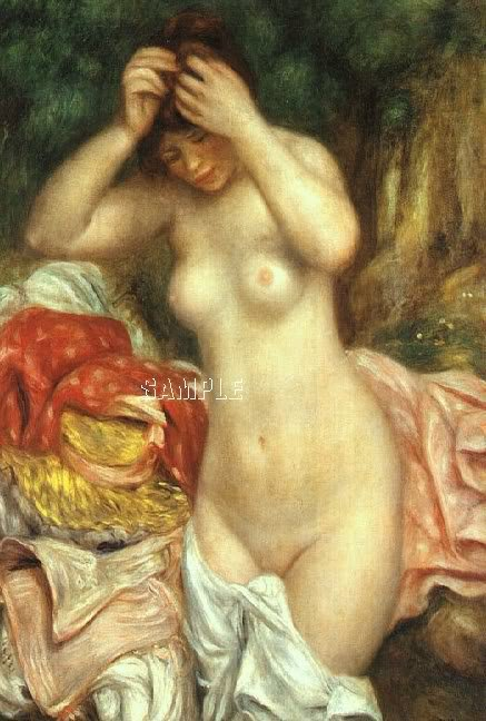VINTAGE NUDE GIRL BATH HAIR BEAUTY CANVAS PRINT LARGE