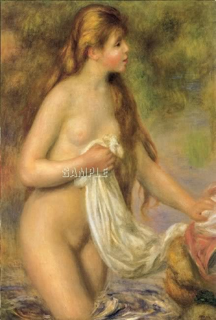 VINTAGE BATHING NUDE NYMPH GIRL CANVAS ART PRINT LARGE