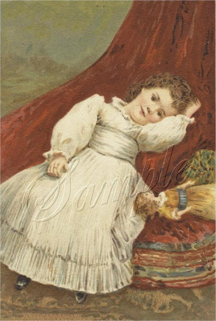 VICTORIAN GIRL ANTIQUE DOLL CANVAS ART PRINT LARGE