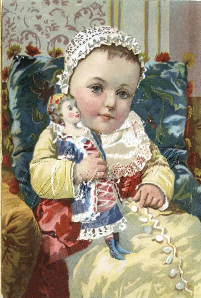 VICTORIAN BABY GIRL ANTIQUE DOLL CANVAS ART PRINT LARGE
