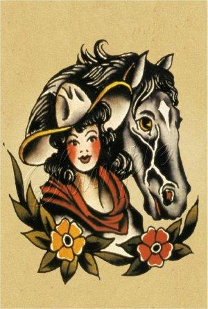 vintage tattoo western cowgirl horse canvas art large. Black Bedroom Furniture Sets. Home Design Ideas