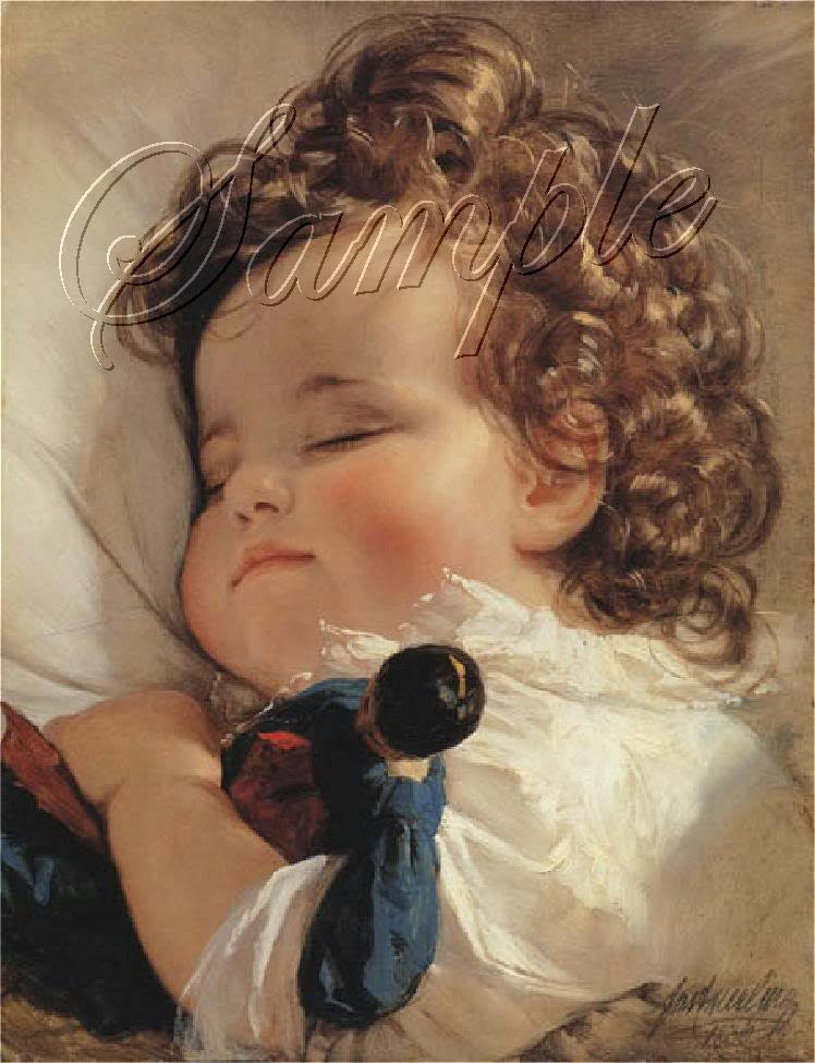 VINTAGE CHILD GIRL CURLS SLEEP ANTIQUE DOLL CANVAS ART