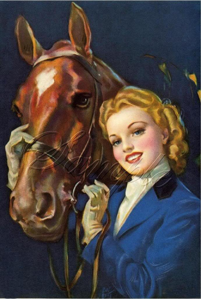 VINTAGE COWGIRL HORSE WESTERN PIN-UP CANVAS ART PRINT