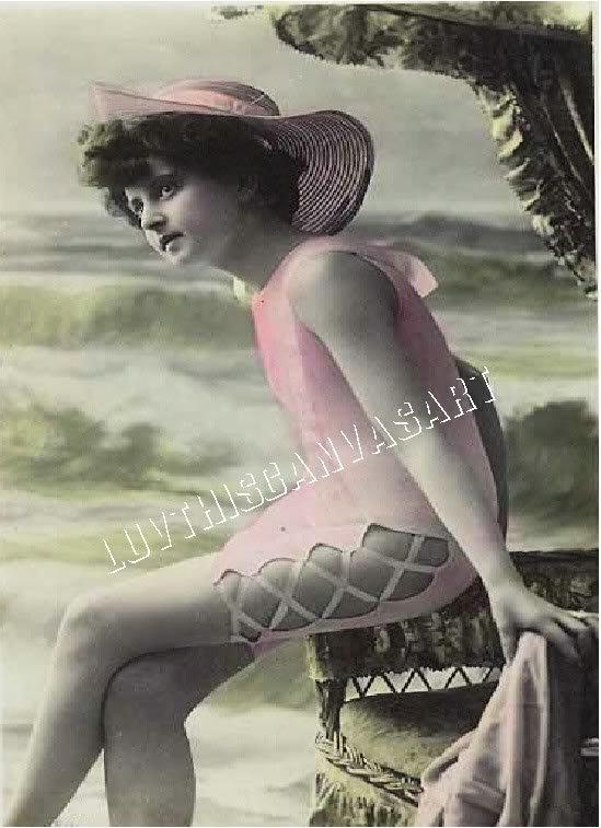 Vintage French Bathing Beauty Shabby Canvas Art Print