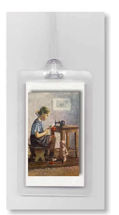 CHILD ANTIQUE DOLL SEAMSTRESS SEWING - 2 LUGGAGE TAGS
