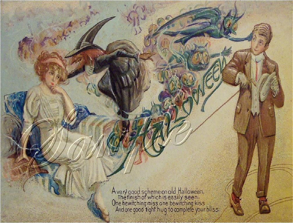 VINTAGE WITCH HALLOWEEN GOBLINS WICCA CANVAS ART PRINT