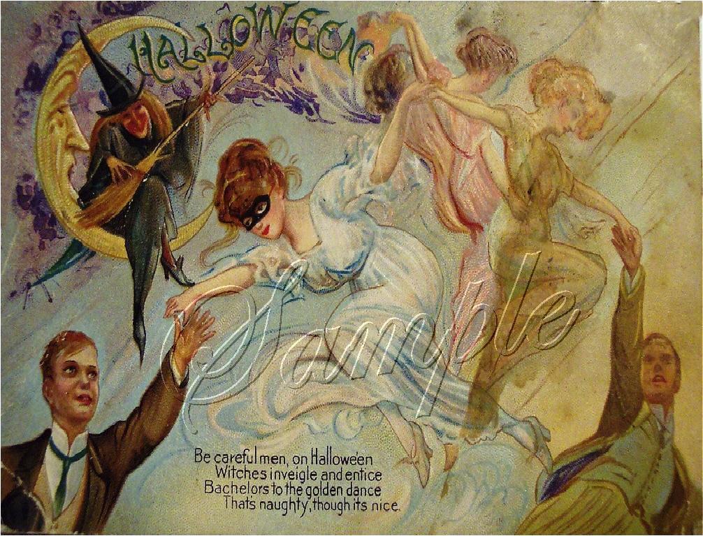 VINTAGE WITCH DANCE HALLOWEEN WICCA CANVAS ART PRINT