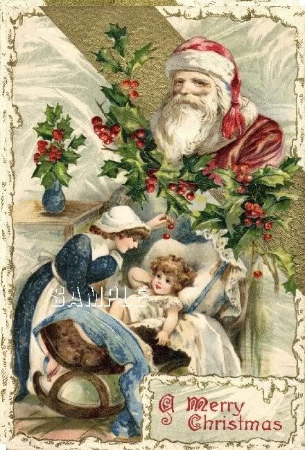 VINTAGE CHRISTMAS SANTA MOTHER BABY CRADLE CANVAS ART