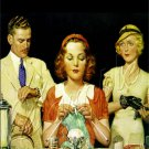 VINTAGE ICE CREAM COUNTER LADY MAN KNITTING CANVAS ART