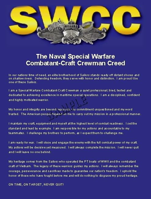 US NAVY SWCC CREED WARFARE MILITARY CANVAS PRINT- LARGE