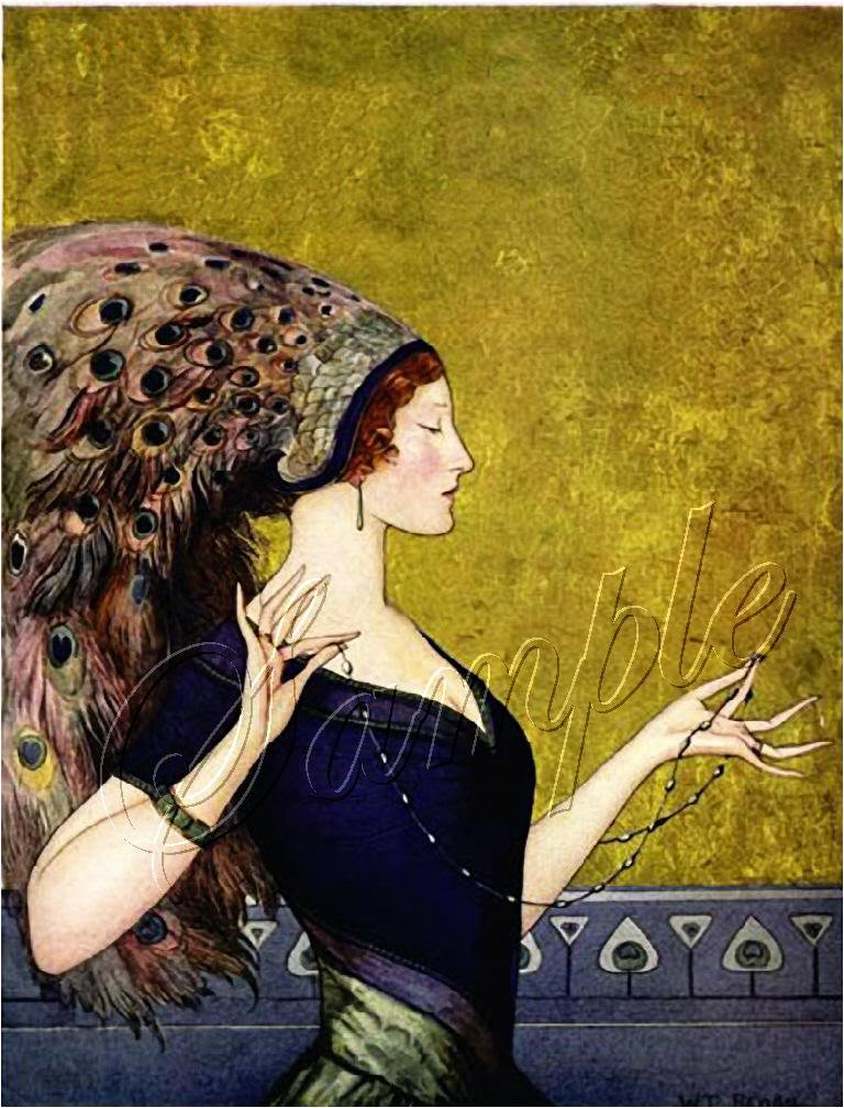 Art Deco Girl Peacock Headdress Hat Canvas Print Large