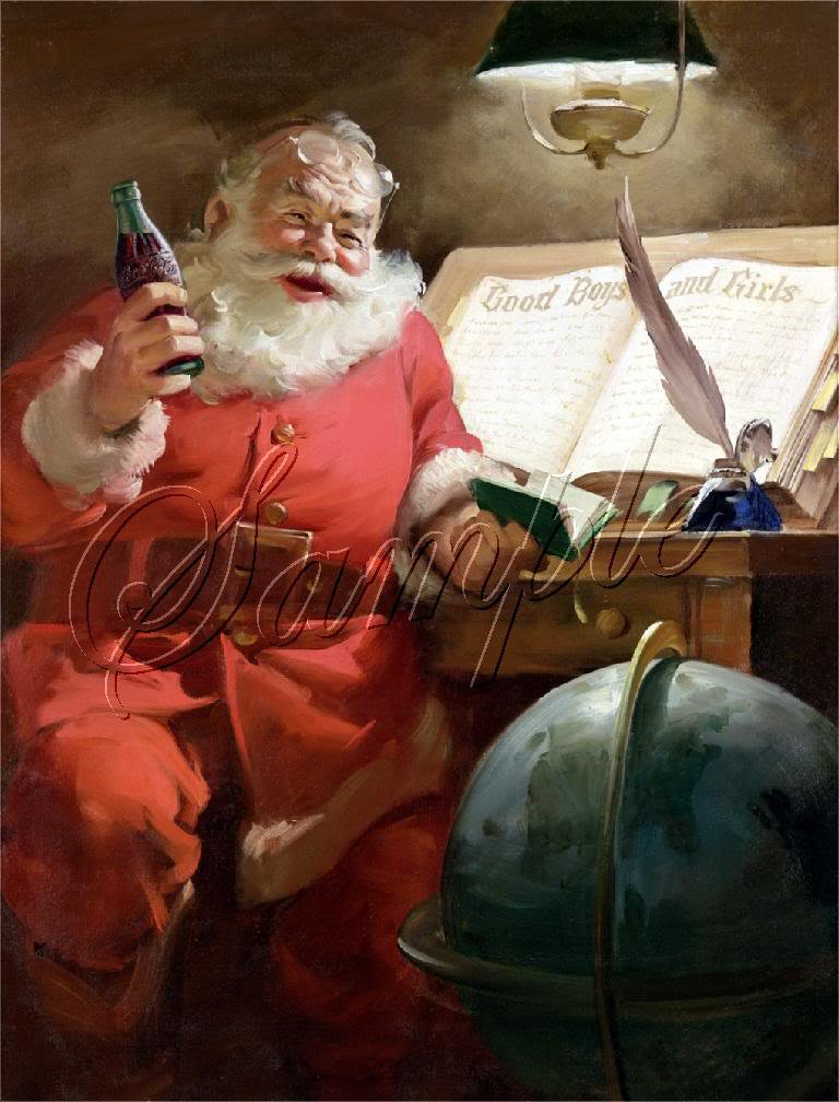 VINTAGE SANTA CHRISTMAS COKE COLA GLOBE CANVAS PRINT