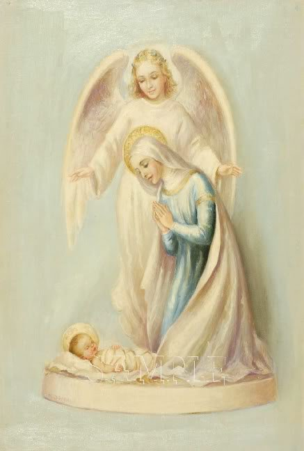 VINTAGE JESUS VIRGIN ANGEL RELIGIOUS CANVAS PRINT- BIG