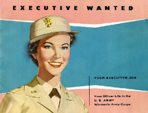 1950's ARMY WOMENS CORP WAC RECRUITING CANVAS ART LARGE