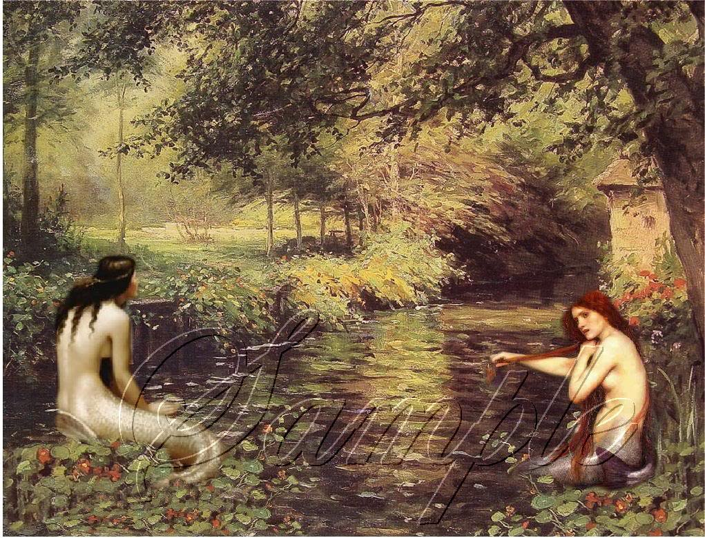 VINTAGE MERMAIDS WATER NYMPH FANTASY CANVAS ART PRINT