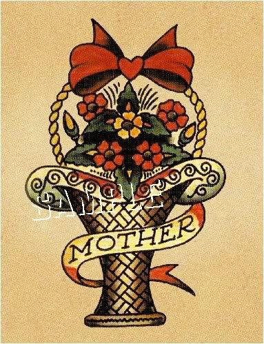 VINTAGE TATTOO FLASH FLOWER BOUQUET MOTHER CANVAS ART