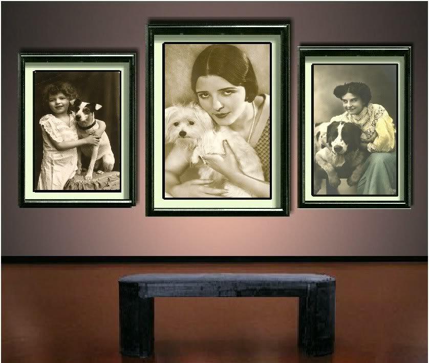 VINTAGE GIRL JACK RUSSELL DOG PHOTO CANVAS ART PRINT