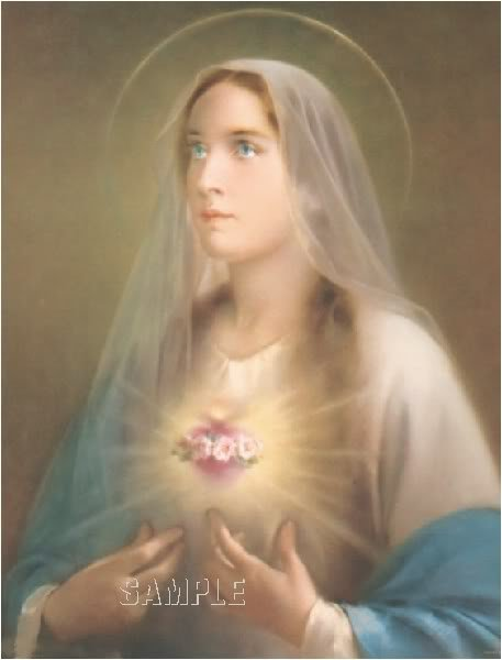 VINTAGE VIRGIN MARY SACRED HEART CHIC CANVAS ART LARGE