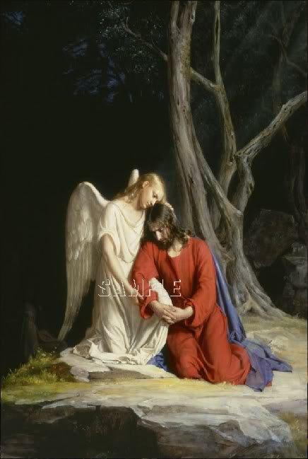 VINTAGE JESUS ANGEL RELIGIOUS GETHSEMANE CANVAS ART-BIG