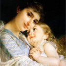VINTAGE MOTHER CHILD HUGS LOVE LACE CANVAS ART PRINT