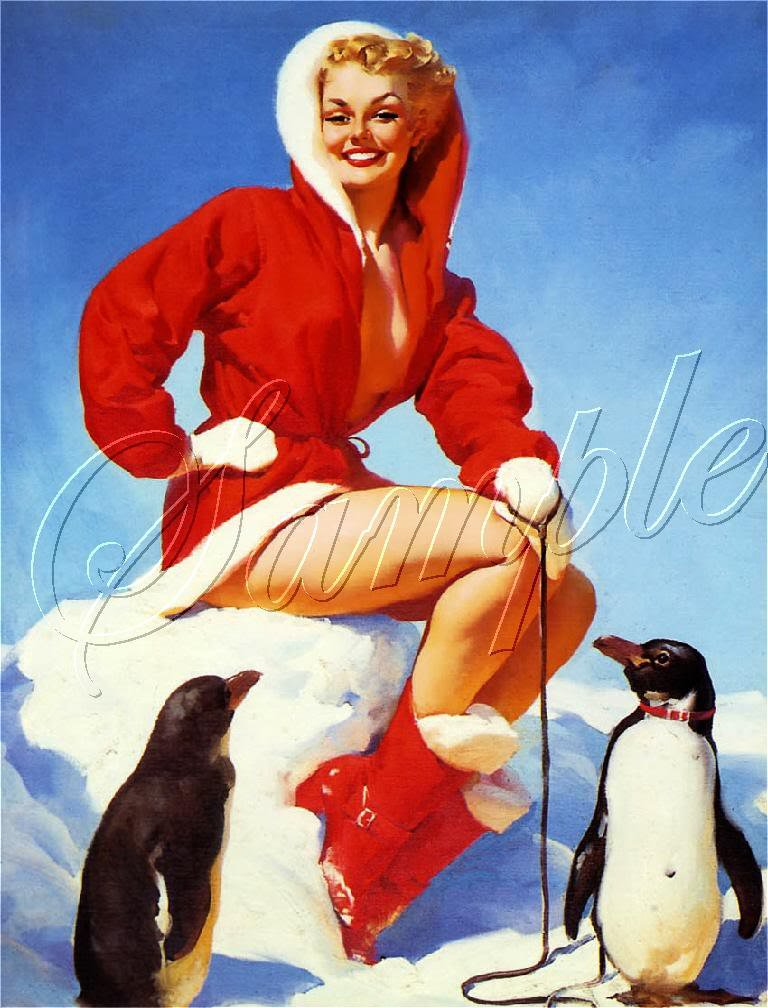 VINTAGE CHRISTMAS GLAMOUR GIRL PENGUINS CANVAS PRINT