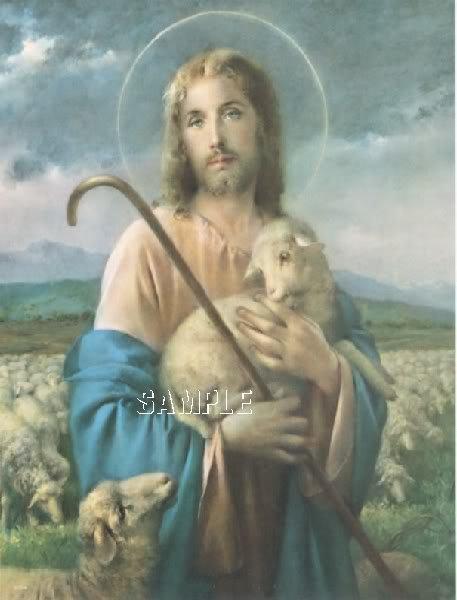 VINTAGE JESUS SHEPHERD LAMB RELIGIOUS CANVAS PRINT BIG