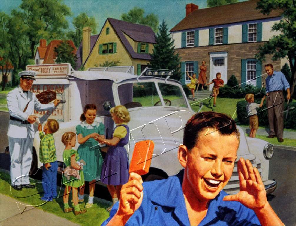 VINTAGE BOY ICE CREAM TRUCK MAN CREAMSICLE CANVAS PRINT