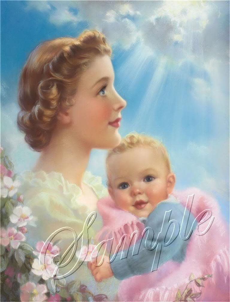 VINTAGE MOTHERS DAY BABY LOVE SUN RAY CANVAS ART PRINT