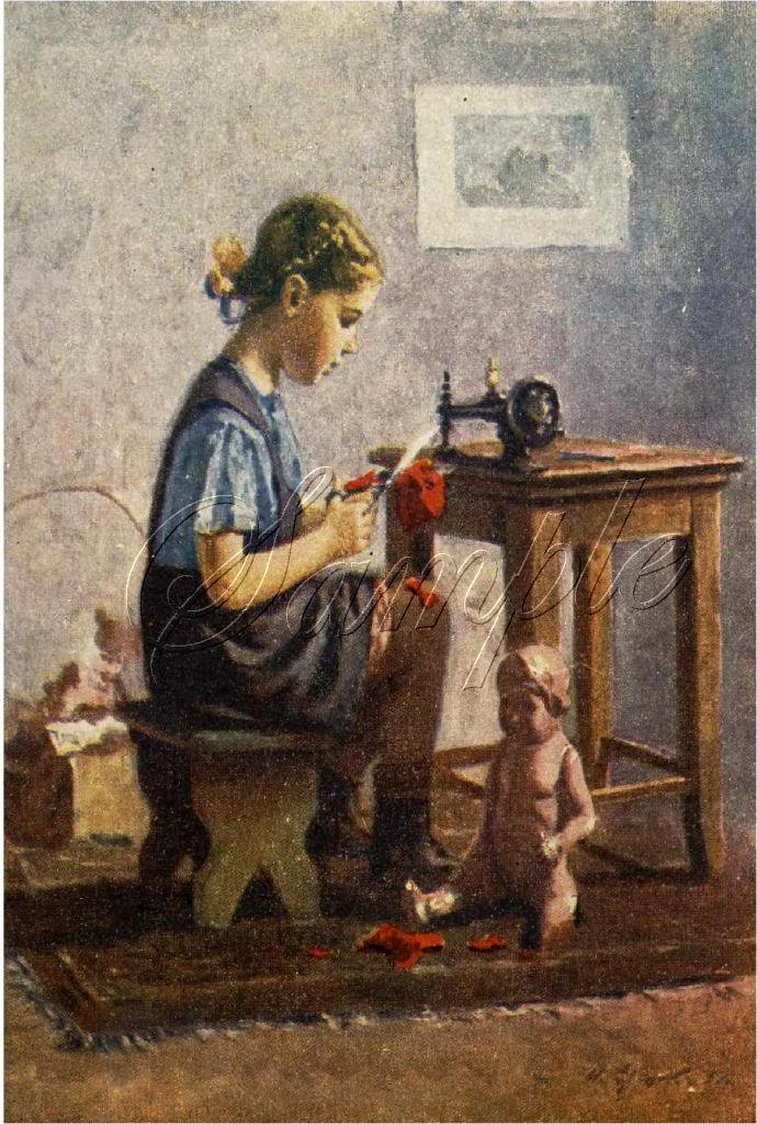 VINTAGE CHILD SEAMSTRESS SEWING ANTIQUE DOLL CANVAS ART