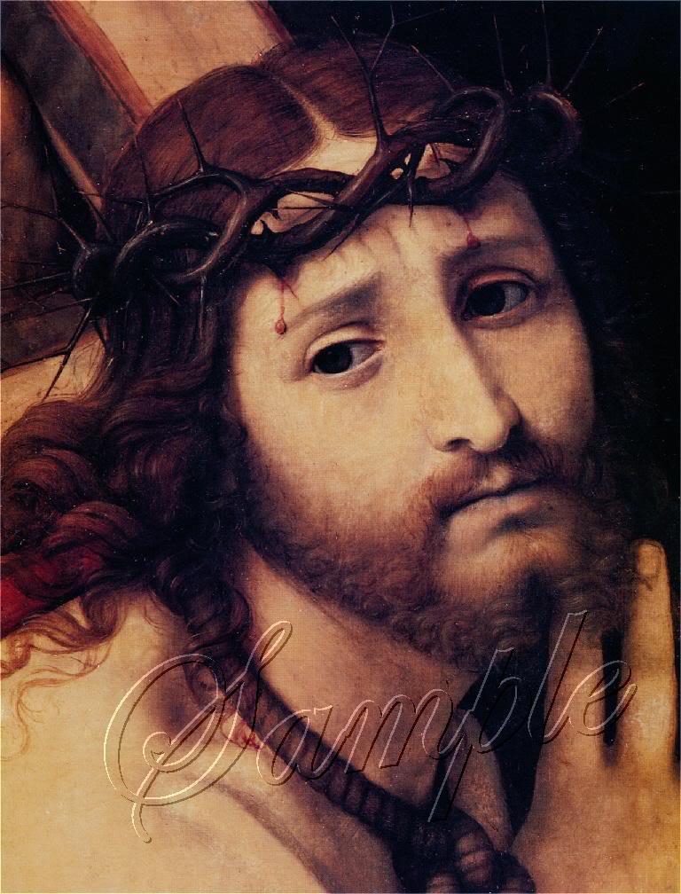 VINTAGE JESUS CHRIST PORTRAIT CROSS THORN CANVAS PRINT