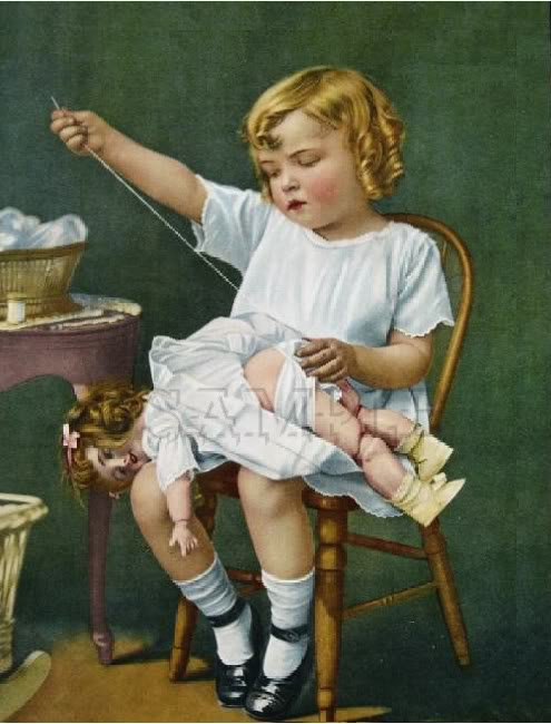 VINTAGE CHILD GIRL SEWING ANTIQUE DOLL CANVAS ART LARGE