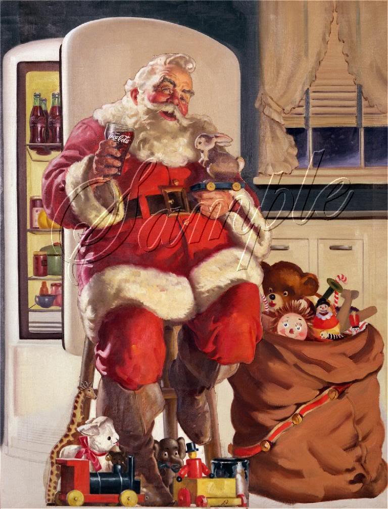 VINTAGE CHRISTMAS SANTA COKE TOYS SACK CANVAS ART PRINT