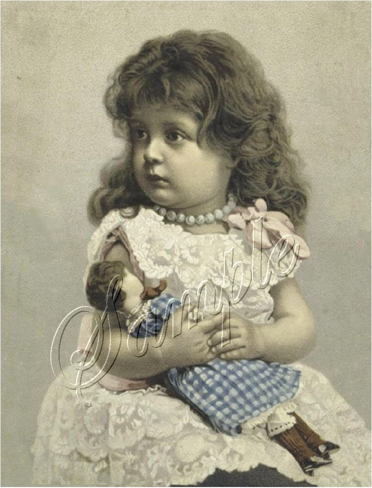 VICTORIAN GIRL PEARLS ANTIQUE DOLL CANVAS PRINT LARGE