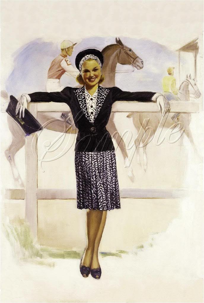 KENTUCKY DERBY PIN UP GIRL HAT HORSE RACE CANVAS ART