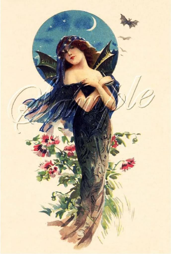 VINTAGE PRETTY WITCH WICCA BAT LADY CANVAS PRINT LARGE