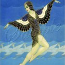 ART DECO GIRL FLYING BIRD LADY WINGS CANVAS PRINT LARGE