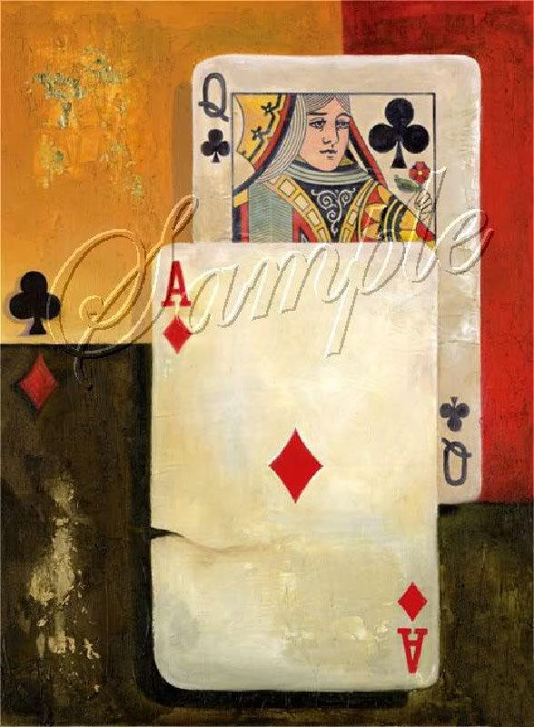 VINTAGE PLAYING CARDS ACE DIAMOND CANVAS ART PRINT BIG