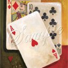 VINTAGE PLAYING CARDS ACE HEARTS CANVAS ART PRINT LARGE