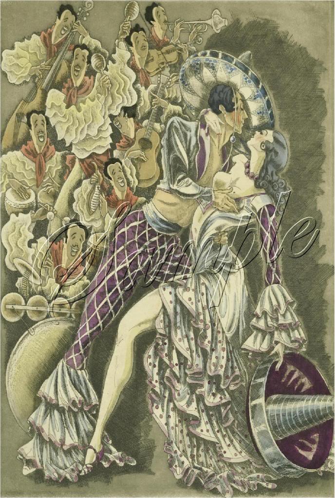 ART DECO SPANISH FLAMENCO DANCE MARIACHI CANVAS PRINT
