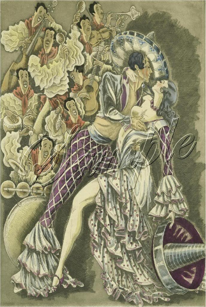 ART DECO FLAMENCO SPANISH DANCE MARIACHI CANVAS PRINT