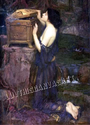 VINTAGE PANDORAS BOX FANTASY GIRL MYTH CANVAS ART PRINT