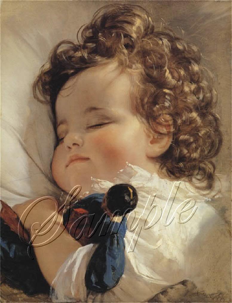 VINTAGE SLEEP BABY CURLS ANTIQUE DOLL CANVAS ART -LARGE