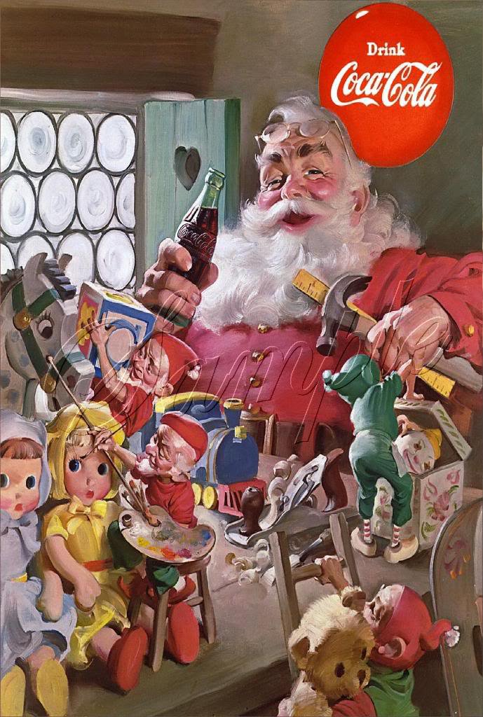 VINTAGE SANTA CHRISTMAS COKE ELVES TOYS DOLL CANVAS ART