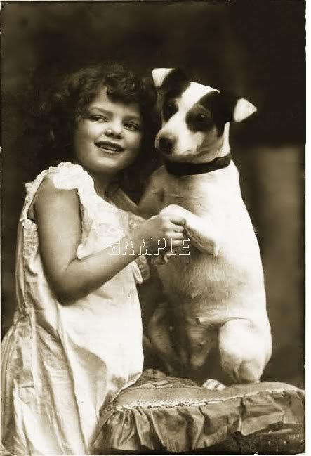 VINTAGE JACK RUSSELL TERRIER DOG GIRL CANVAS PRINT BIG