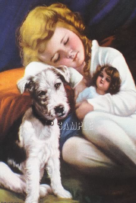 VINTAGE CHILD ANTIQUE DOLL PUPPY SLEEP CANVAS ART PRINT