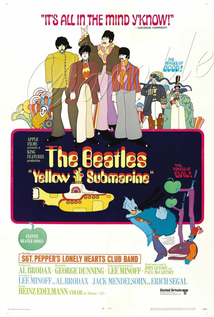 VINTAGE BEATLES  YELLOW SUBMARINE CANVAS PRINT LARGE