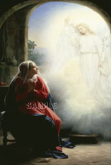 VINTAGE ANNUNCIATION MARY ANGEL RELIGIOUS CANVAS ART