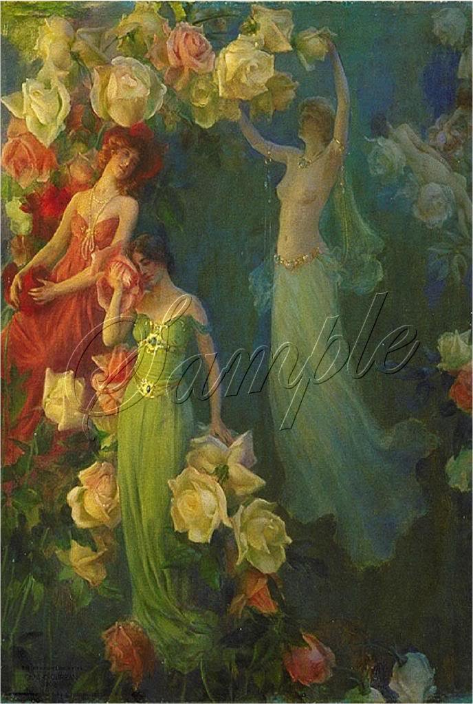 VINTAGE NYMPH GODDESS ROSES GARDEN CANVAS ART PRINT-BIG