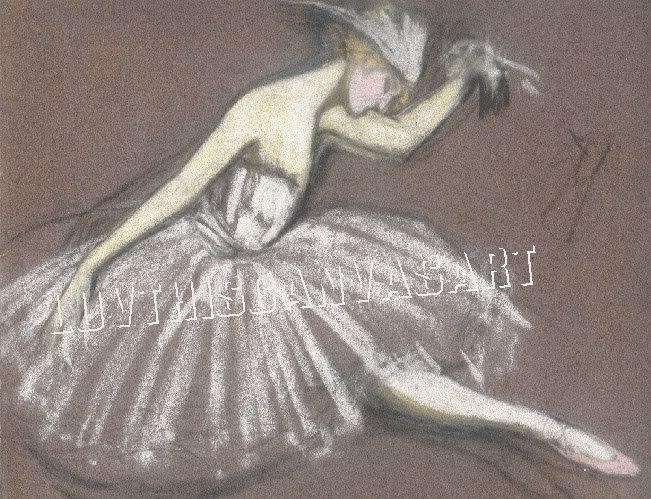 VINTAGE FRENCH BALLET BALLERINA SKETCH CANVAS ART PRINT